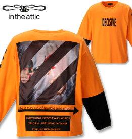 大きいサイズ メンズ in the attic(インジアティック) 背中昇華転写貼り付け長袖Tシャツ オレンジ×ブラック 2L 3L 4L 5L 6L 送料無料 コンビニ受取対応商品