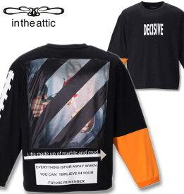 大きいサイズ メンズ in the attic(インジアティック) 背中昇華転写貼り付け長袖Tシャツ ブラック×オレンジ 2L 3L 4L 5L 6L 送料無料 コンビニ受取対応商品