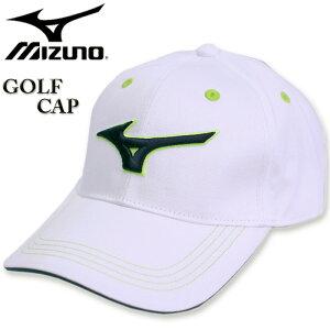 大きいサイズ メンズ MIZUNO ミズノ ゴルフ ロゴ刺繍 コットンツイルキャップ ホワイト×イエロー 3L/62〜65cm コンビニ受取対応商品