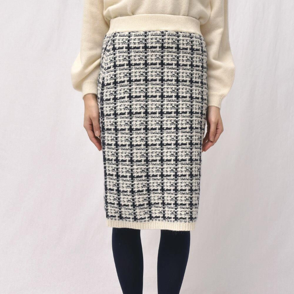 three dots(スリードッツ)CB301Y チェックツイードスカート【国内正規品】