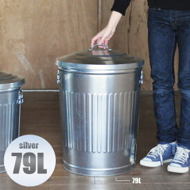 ブリキダストビン 79リットル ごみ箱 ゴミ箱 フタ付き 大容量 大型 ダストBOX ダストボックス ふた付き  送料無料