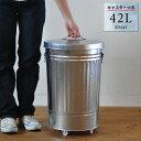 トタン バケツ 42L キャスター付き ふた付き ダストボックス ゴミ箱 ごみ箱 日本製 42リットル 大容量 大型 シルバー …