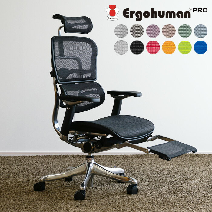 オフィスチェア Ergohuman PRO ottoman エルゴヒューマンPROEHP-LPL KMオットマン内臓 リクライニング機能 高さ調節機能 キャスター付き【送料無料】