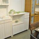 オープン キャビネット ホワイトウォッシュ キッチン カウンター フレンチ カントリー アイボリー
