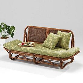 ラタン カウチ ニューエルモサ〈AB〉 02-0740-88 カザマ アンティークブラウン 2人掛け 2P カウチソファ クッション付き 籐椅子 New Hermosa