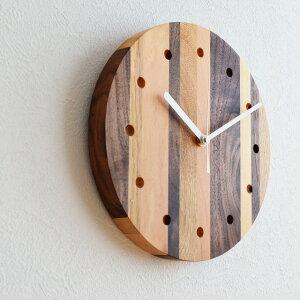 壁掛け時計 Latree ラトレ ウォールクロック モザイク丸PL1TIM-0040250-MXOL オーク+ビーチ+ウォルナット天然木 ナチュラル 時計 木製 天然木 シンプル 【39】
