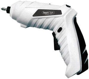 電動ドライバー ハンディ 充電式 LEDライト付き 電動ドリル KKED-001W (ホワイト) コンパクト セット 使いやすい