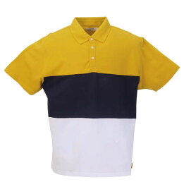 Timely Warning 鹿の子3段切替半袖ポロシャツ 大きいサイズ メンズ ビッグサイズ メンズファッション 3L4L5L6L8L 大きいサイズの服  大きいサイズ専門店 大きなサイズ ビックサイズ