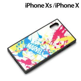 MARVEL iPhone XS/X(5.8インチ)用 ガラスハイブリッドケース スプラッシュロゴ/ホワイト PG-DCS615WH【メール便送料無料】