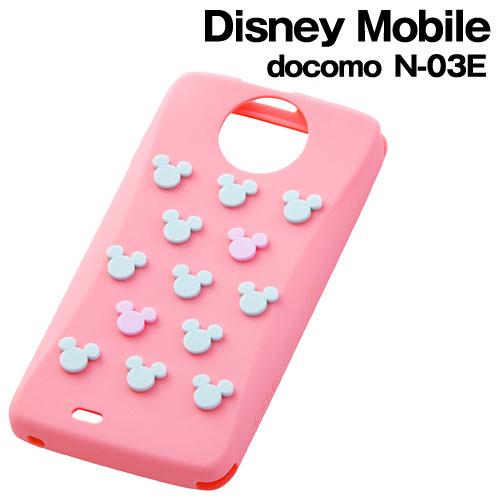 ☆◆ レイ・アウト ディズニー docomo Disney Mobile ( N-03E )専用 キャラクター・シリコンジャケット ミッキーピンク RT-DN03EA/MP【メール便送料無料】