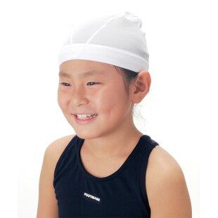 スイムキャップ(水泳帽)ベビー&キッズ用「FOOTMARK(フットマーク)ダッシュ」着用イメージ