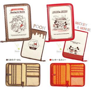 母子手帳ケースディズニー(片面ジャバラ)ブック型・くまのプーさん・ミッキー&ミニー