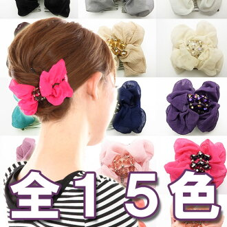 "Beauty hair ツインコーム rumpled cloth Ribbon motif feminine luxury Crystal beads. Let そろえち in different colors!, here come heaakuse and イージーコーム double come.""s."""