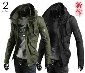 【あす楽対応可】ライダースジャケット メンズ ミリタリーJKT ジップアップ 長袖 大きいサイズアウター コーディネート ミリタリー バイクウェア