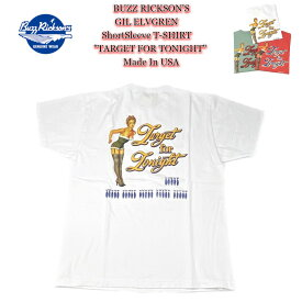 """BUZZ RICKSON'S バズリクソンズ GIL ELVGREN ShortSleeve T-SHIRT """"TARGET FOR TONIGHT"""" Made In USA 半袖 Tシャツ ジル・エルブグレン アメリカ製 USA製 BR78825 【送料無料!!】【ゆうパケット送付商品】"""