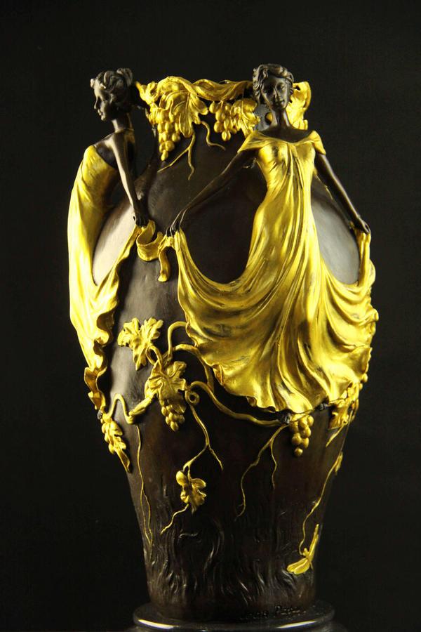 【送料無料】大型ブロンズ◇美人の花瓶◇Jean Patou作◇彩色置物彫刻銅像インテリア