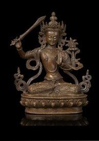 仏教美術 ブロンズ像 文殊菩薩 チベット仏教 21cm 彫刻 仏像 インテリア