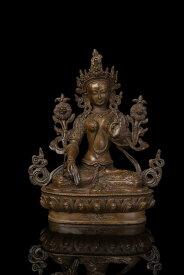 仏教美術 ブロンズ像 多羅菩薩 白度母 21cmインテリア彫刻仏像