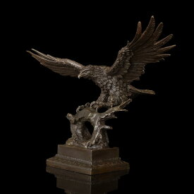 超大型動物ブロンズ像『鷹』◇47cm◇大名品