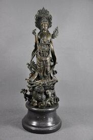 【送料無料】ブロンズ像仏教美術乗龍観音菩薩像42cm希少インテリア彫刻仏像