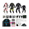 S-48 titanium leather suits - Ravenna overalls KOMINE 02-048