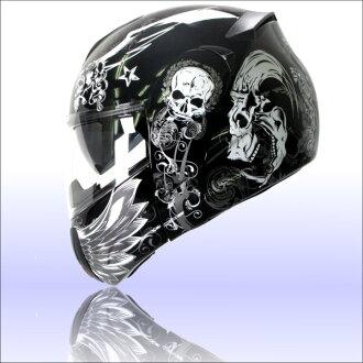 インナーバイザー 與 FlipUp 系統頭盔 アルファスカル ALPHA 頭骨
