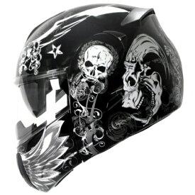 インナーバイザー付きフリップアップシステムヘルメット アルファスカル ALPHA SKULL かっこいいフルフェイスヘルメット クレスト