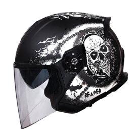 ワンタッチインナーバイザー付きジェットヘルメット 隼リーパーグラフィック SG/PSCマーク付き HAYABUSA REAPER バイク用 かっこいい クレスト ダブルシールド