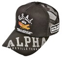 AL.OR Fighter embroidery メッシュキャップ ブラック Alpha industries(アルファインダストリー)