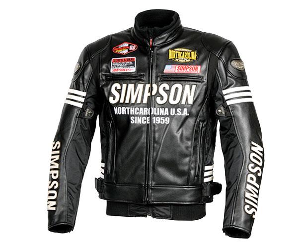 SJ-8133 PUレザージャケット ブラック Mサイズ SIMPSON(シンプソン)