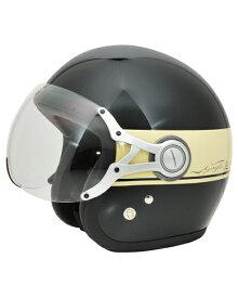 SPJ-9103S Gayla ジェットヘルメット Tow-tone ブラック/アイボリー フリーサイズ(58〜60cm) SPOON JET(スプーンジェット)