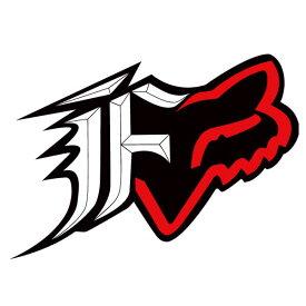 FOX フォックス 14418-017-NS ステッカー F-Head F-ヘッド ブラック/レッド 10cm ダートフリーク