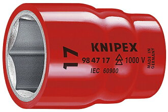 KNIPEX country pecks 9847-17 (1/2SQ) insulation socket 1,000V plug corner (SQ): 1/2 size (mm): 17 socket outsider diameter (mm): 28.2 mass (g): 75
