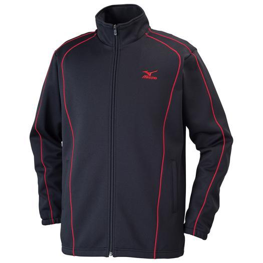 MIZUNO ミズノ 32JC6125 ウォームアップシャツ 長袖 メンズ ブラック×チャイニーズレッド 3XLサイズ