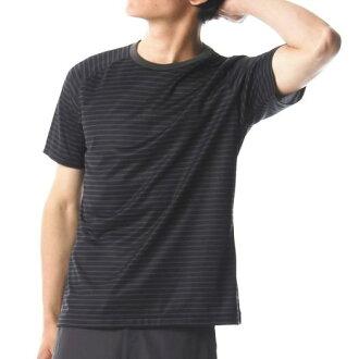 美津浓美津浓A2MA8028快干边缘短袖酷颈衬衫人黑色×灰色M尺寸