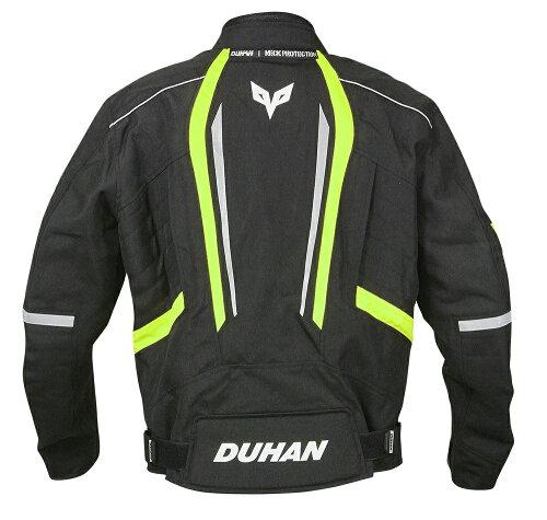 【DUHAN】モーターサイクルジャケットブラック×グリーン【オールシーズン】【XLサイズ】【ドゥーハン】