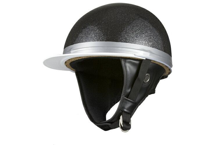 コルク半キャップ 黒 ブラックラメ   黒ラメ  フリーサイズ  124cc以下  SG規格適合 PSCマーク付  バイク  オートバイ  ヘルメット  半帽  バイクパーツセンター