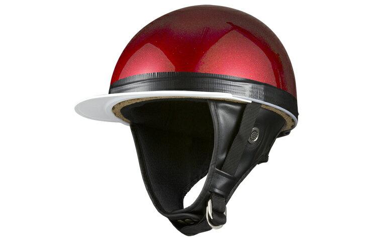 コルク半キャップ 赤 レッドラメ  赤ラメ  三つボタン  フリーサイズ  124cc以下  SG規格適合 PSCマーク付  3つボタン  バイク  オートバイ  ヘルメット  半帽  バイクパーツセンター