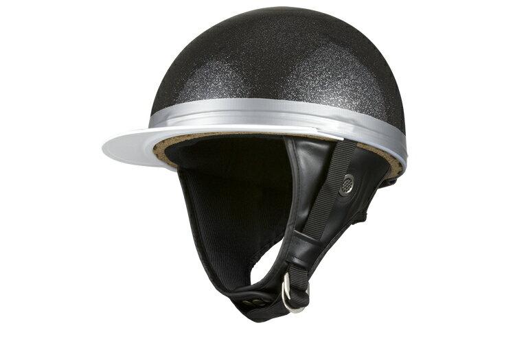 コルク半キャップ 黒【ブラックラメ】【黒ラメ】【三つボタン】【フリーサイズ】【124cc以下】【SG規格適合 PSCマーク付】【3つボタン】【バイク】【オートバイ】【ヘルメット】【半帽】 バイクパーツセンター