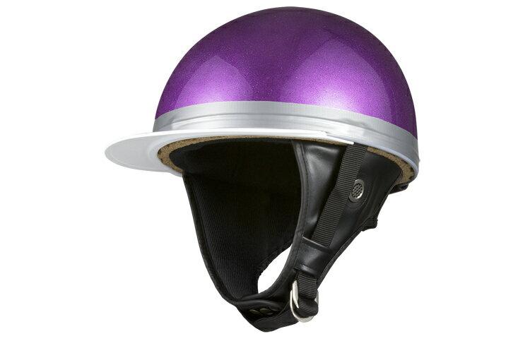 コルク半キャップ 紫 パープルラメ  紫ラメ  三つボタン  フリーサイズ  124cc以下  SG規格適合 PSCマーク付  3つボタン  バイク  オートバイ  ヘルメット  半帽  バイクパーツセンター