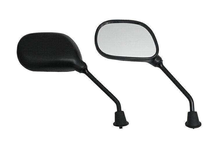 【ミラー】楕円ミラー 正ネジ 8mm 左右セット 原付 スクーター 黒 バイクパーツセンター