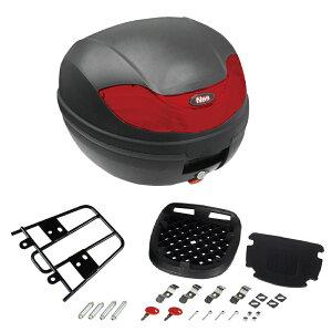 リアボックス 黒/赤 32L リアキャリアセット 取付ボルト付 PCX125  ブラック/レッド  大容量  通勤  通学  トップケース  ツーリングバッグ  ワンタッチ式  リアキャリ