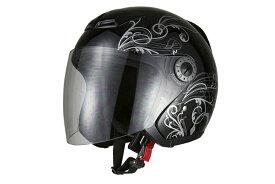 ジェットヘルメット グラフィック ブラック  XLサイズ  SG規格適合 PSCマーク付  バイク  オートバイ  ヘルメット  バイクパーツセンター