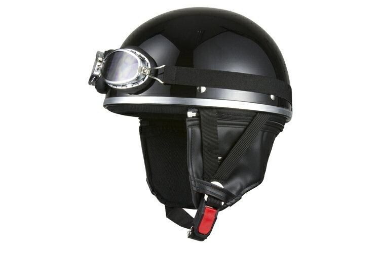 ビンテージヘルメット  ゴーグル付き  ブラック  フリーサイズ  124cc以下  耳あて着脱可能  SG規格適合 PSCマーク付  バイク  オートバイ  ヘルメット  半帽  バイクパーツセンター