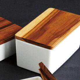 【送料無料】『ロロ 木蓋バターケース 450』【LOLO】【 容器 バター入れ おしゃれ 陶器 木製 保存 天然木 450g】