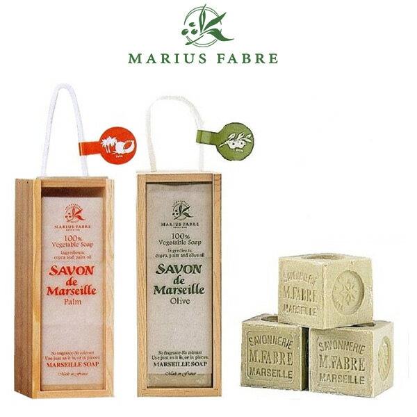 【送料無料】『サボン ド マルセイユ 木箱ギフト (200g×3個入) 全2種類(オリーブorパーム)』【石けん せっけん スキンケア ギフト アロマ石鹸 無添加 洗顔 プレゼント SAVON de Marseille】