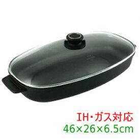 【送料無料】『Gastrolux(ガストロラックス) バイオタン キャセロール 鍋(ガラス蓋付き)46×26×6.5(7)cm【IH・ガス対応】 17841』