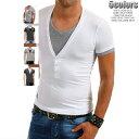 Vネック Tシャツ 半袖 メンズ 重ね着風 白 グレー チャコールグレー ストレッチコットン