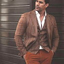 テーラードジャケット ストライプ 茶色 ブレザー メンズ タイト/スリムフィット ジャケパン 秋/冬/春 大きいサイズも入荷 ビジネスジャケット