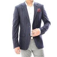 テーラードジャケットストライプダブルブレザーメンズネイビー紺ジャケパンXXXL大きいサイズも入荷ビジネスジャケット